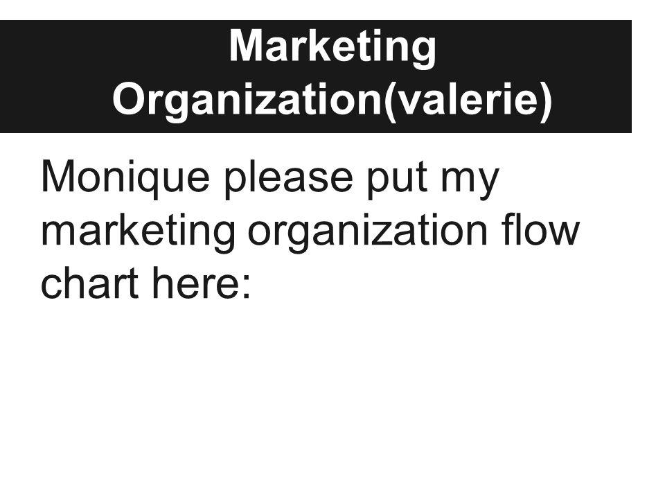 Marketing Organization(valerie) Monique please put my marketing organization flow chart here: