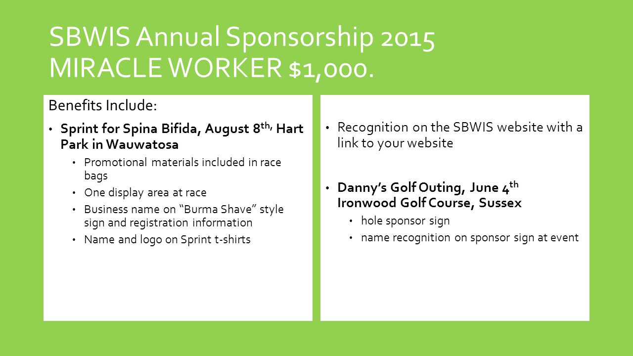 SBWIS Annual Sponsorship 2015 MIRACLE WORKER $1,000.