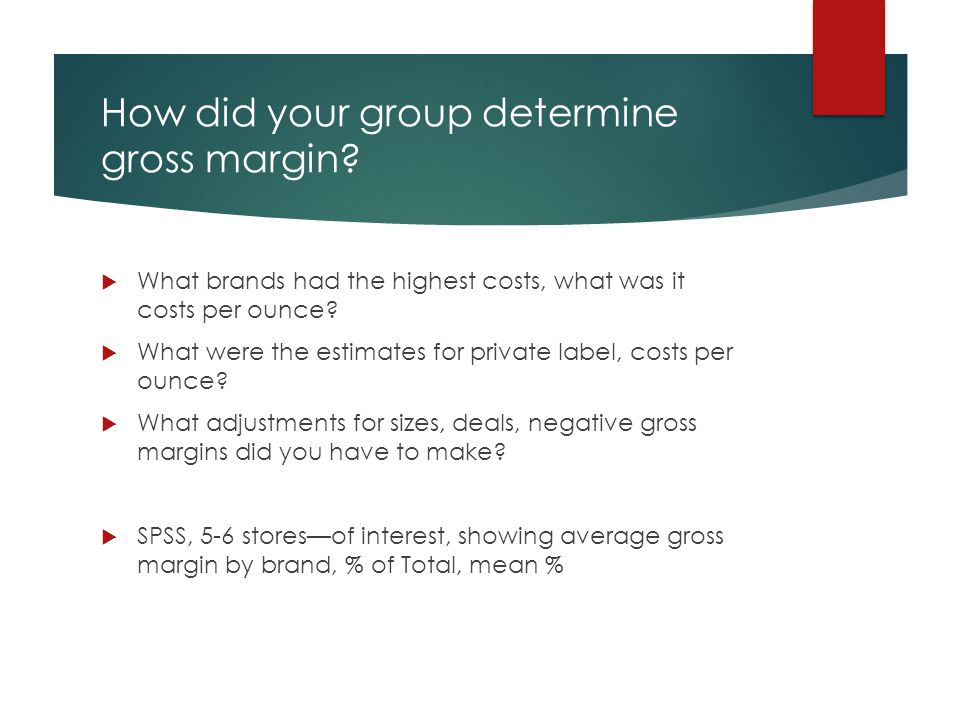 How did your group determine gross margin?  What brands had the highest costs, what was it costs per ounce?  What were the estimates for private lab