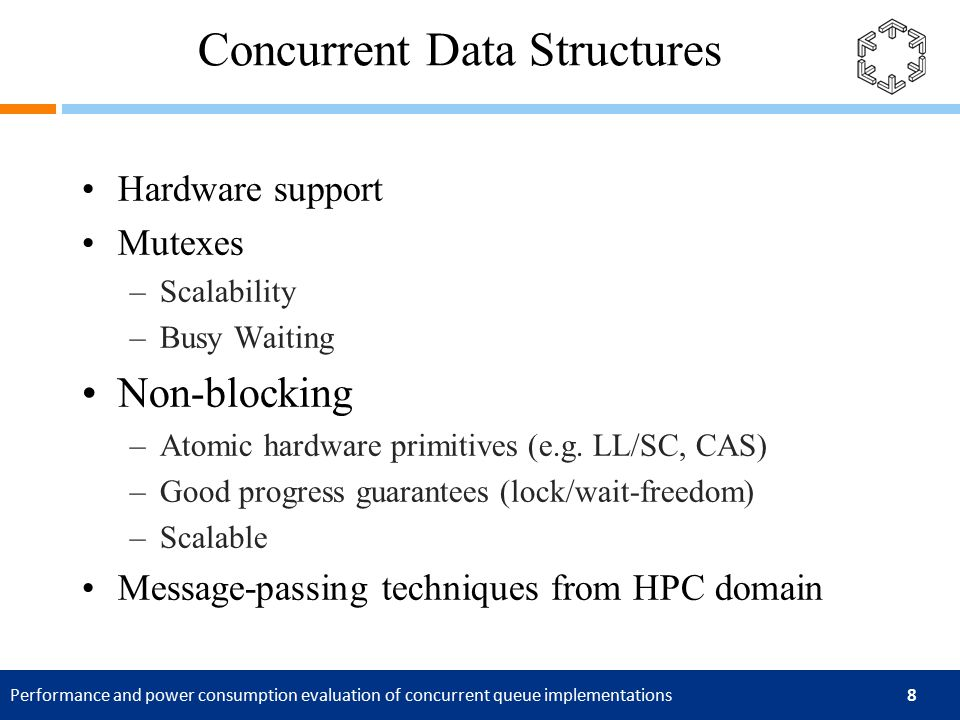 Performance and power consumption evaluation of concurrent queue implementations 8 Concurrent Data Structures Hardware support Mutexes –Scalability –Busy Waiting Non-blocking –Atomic hardware primitives (e.g.