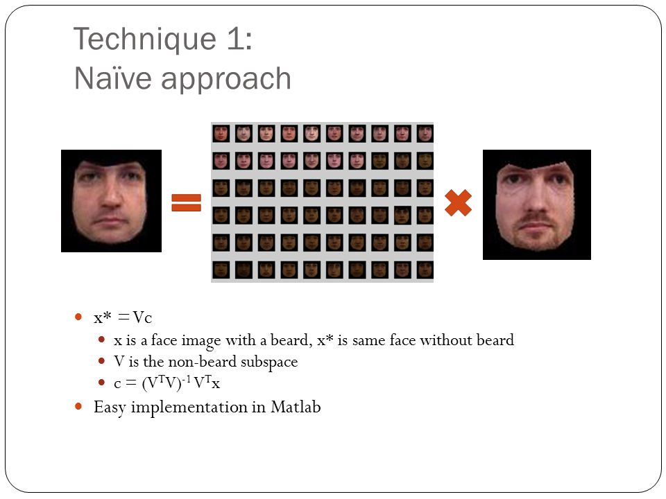 Technique 1: Naïve approach x* = Vc x is a face image with a beard, x* is same face without beard V is the non-beard subspace c = (V T V) -1 V T x Easy implementation in Matlab