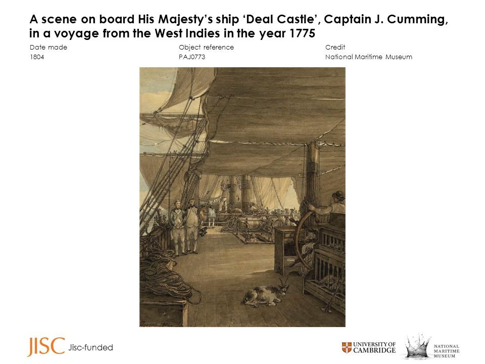Jisc-funded A scene on board His Majesty's ship 'Deal Castle', Captain J.