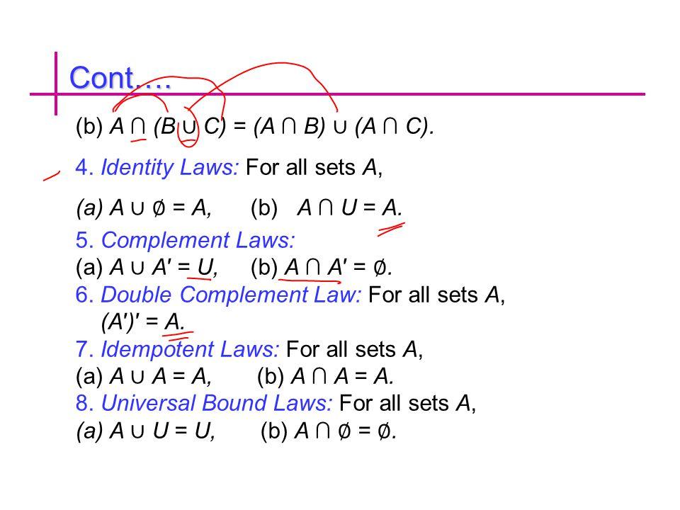 Cont…. (b) A ∩ (B ∪ C) = (A ∩ B) ∪ (A ∩ C). 4. Identity Laws: For all sets A, (a)A ∪ ∅ = A, (b) A ∩ U = A. 5. Complement Laws: (a) A ∪ A′ = U, (b) A ∩