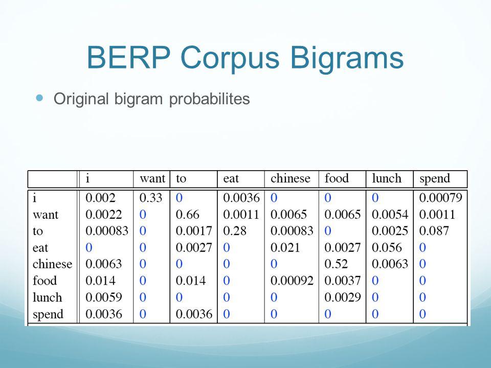 BERP Corpus Bigrams Original bigram probabilites