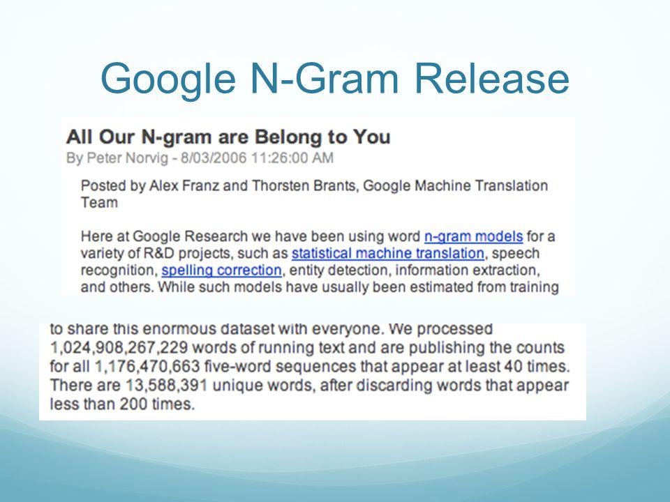 Google N-Gram Release