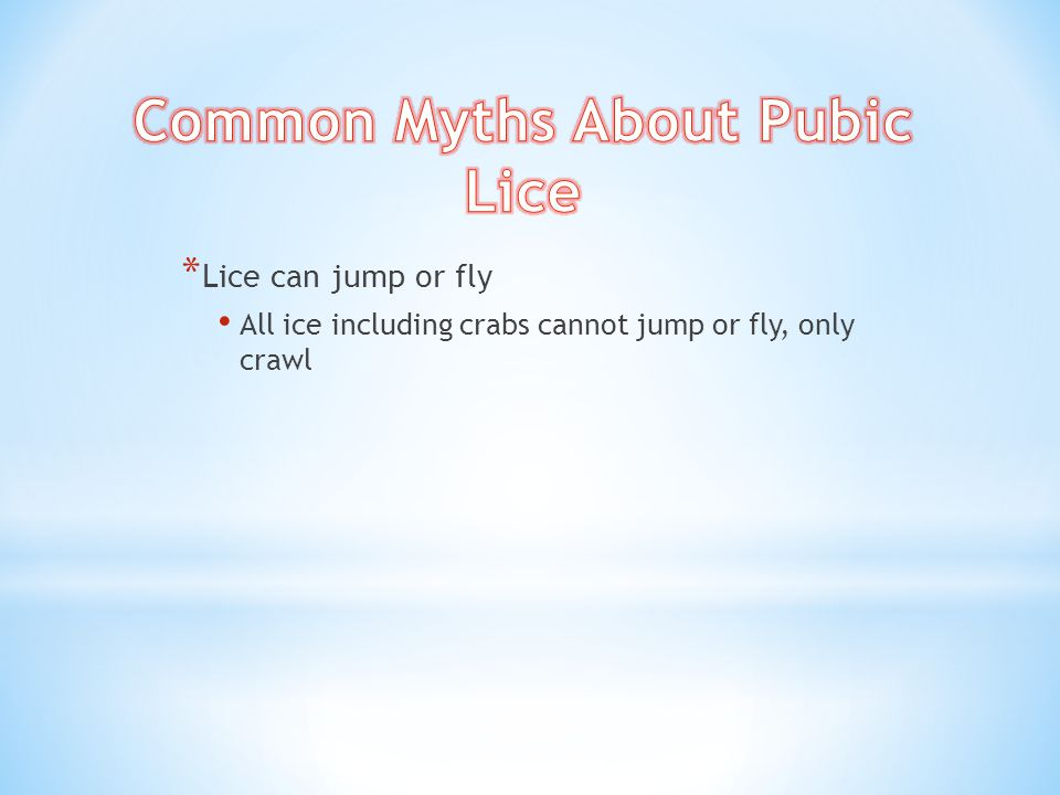 * Lice can jump or fly All ice including crabs cannot jump or fly, only crawl