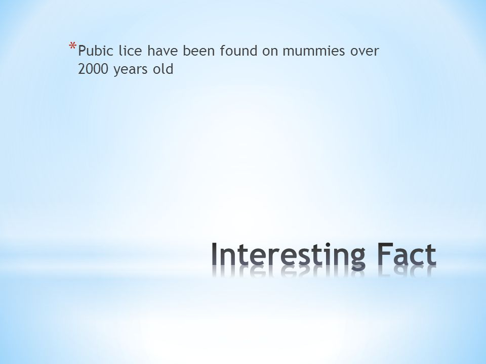 * Pubic lice have been found on mummies over 2000 years old