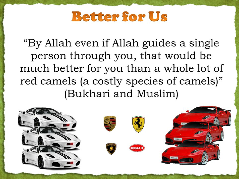 By Allah even if Allah guides a single person through you, that would be much better for you than a whole lot of red camels (a costly species of camels) (Bukhari and Muslim)