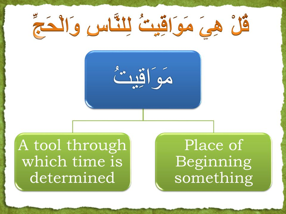 مَوَاقِيتُ A tool through which time is determined Place of Beginning something