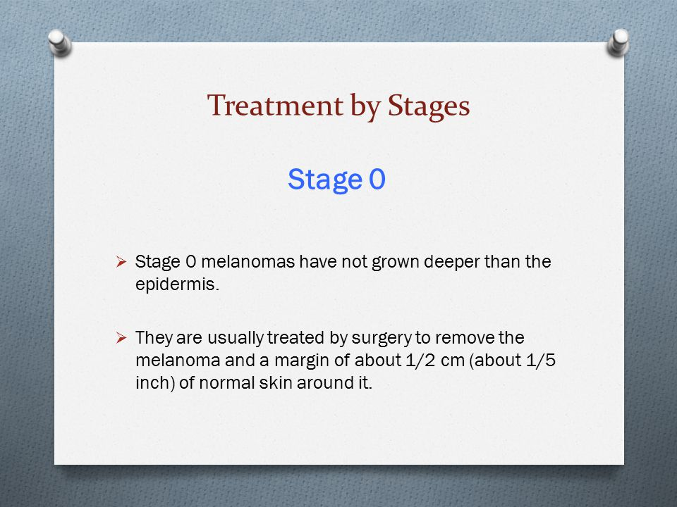 Treatment by Stages Stage 0  Stage 0 melanomas have not grown deeper than the epidermis.  They are usually treated by surgery to remove the melanoma