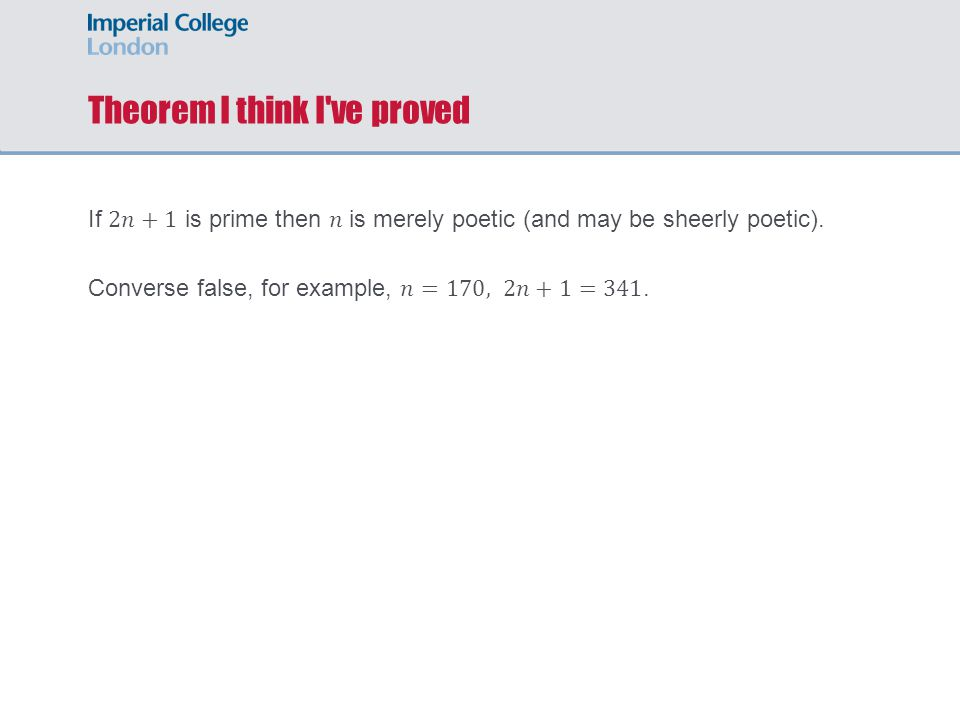 Theorem I think I ve proved