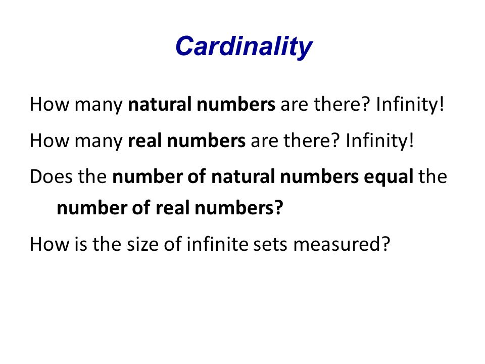 Cardinality The cardinality of a set is a property marking its size.