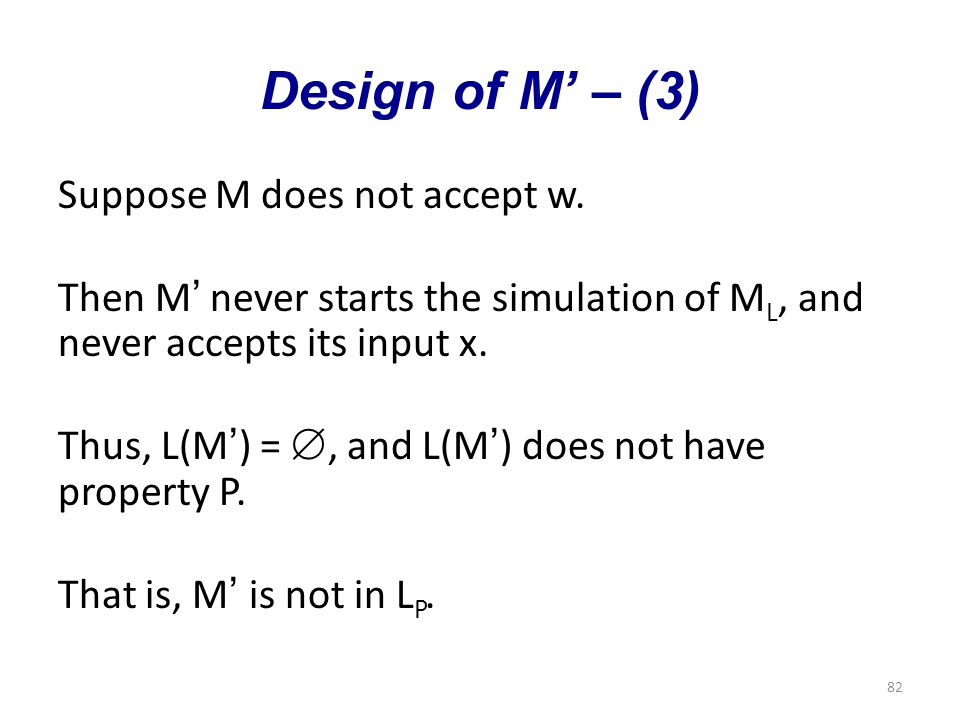 82 Design of M' – (3) Suppose M does not accept w.