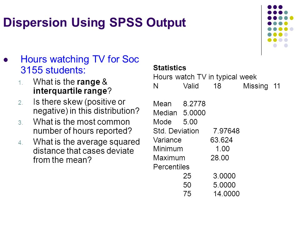 Dispersion Using SPSS Output Hours watching TV for Soc 3155 students: 1.