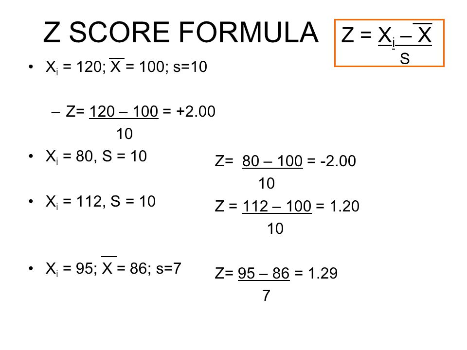 Z SCORE FORMULA Z = X i – X S X i = 120; X = 100; s=10 –Z= 120 – 100 = +2.00 10 X i = 80, S = 10 X i = 112, S = 10 X i = 95; X = 86; s=7 Z= 80 – 100 = -2.00 10 Z = 112 – 100 = 1.20 10 Z= 95 – 86 = 1.29 7