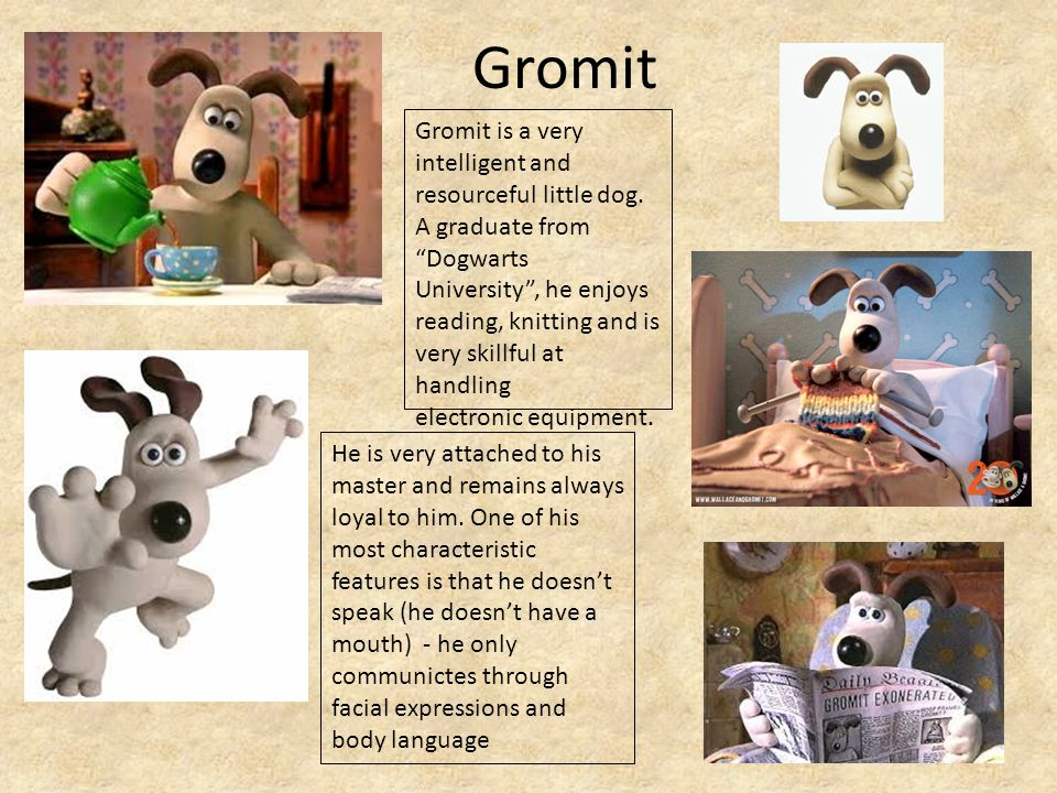 Gromit He is very attached to his master and remains always loyal to him.