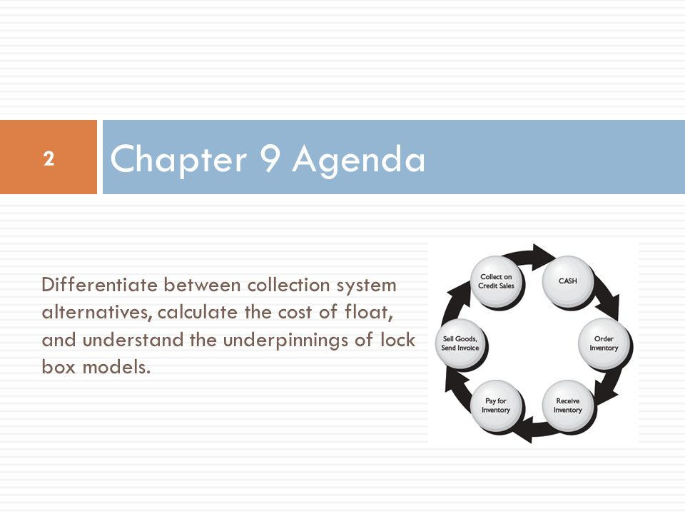 Chapter 9 Agenda 2 Differentiate between collection system alternatives, calculate the cost of float, and understand the underpinnings of lock box models.