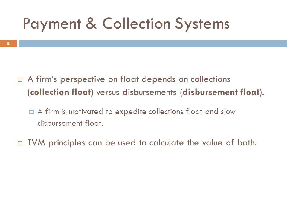 Payment & Collection Systems 8  A firm's perspective on float depends on collections (collection float) versus disbursements (disbursement float).