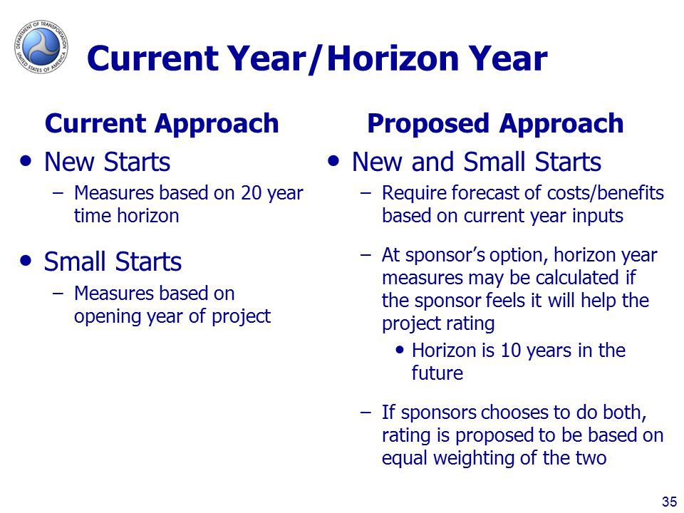Current Year/Horizon Year Current Approach New Starts –Measures based on 20 year time horizon Small Starts –Measures based on opening year of project Proposed Approach New and Small Starts –Require forecast of costs/benefits based on current year inputs –At sponsor's option, horizon year measures may be calculated if the sponsor feels it will help the project rating Horizon is 10 years in the future –If sponsors chooses to do both, rating is proposed to be based on equal weighting of the two 35