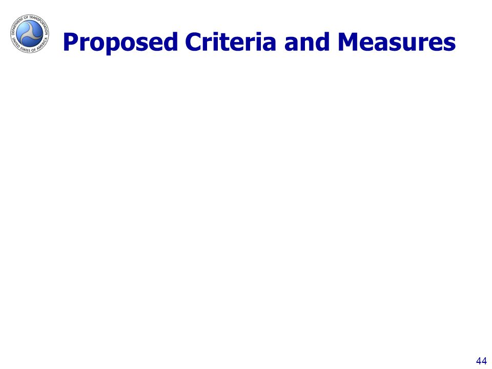 Proposed Criteria and Measures 44