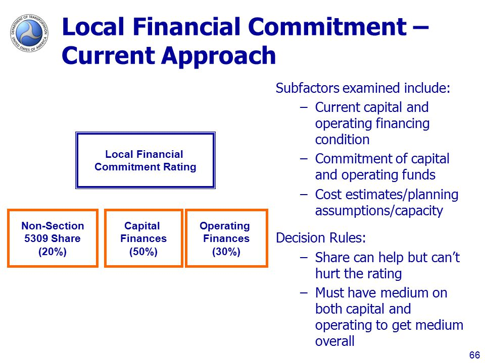 Local Financial Commitment – Current Approach 66 Local Financial Commitment Rating Non-Section 5309 Share (20%) Capital Finances (50%) Operating Finances (30%) Subfactors examined include: –Current capital and operating financing condition –Commitment of capital and operating funds –Cost estimates/planning assumptions/capacity Decision Rules: –Share can help but can't hurt the rating –Must have medium on both capital and operating to get medium overall