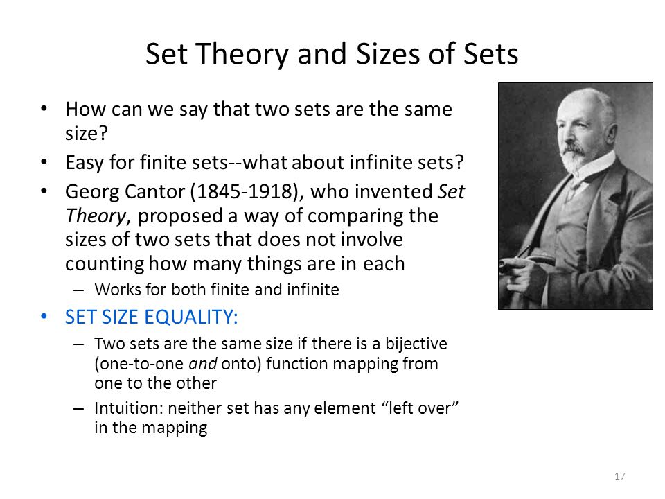 Set Theory and Sizes of Sets How can we say that two sets are the same size? Easy for finite sets--what about infinite sets? Georg Cantor (1845-1918),