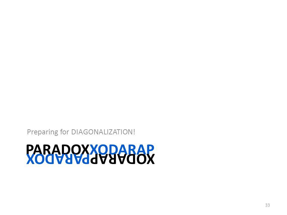 PARADOXXODARAP Preparing for DIAGONALIZATION! 33 XODARAPPARADOX