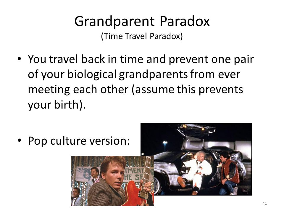 Grandparent Paradox (Time Travel Paradox) You travel back in time and prevent one pair of your biological grandparents from ever meeting each other (a