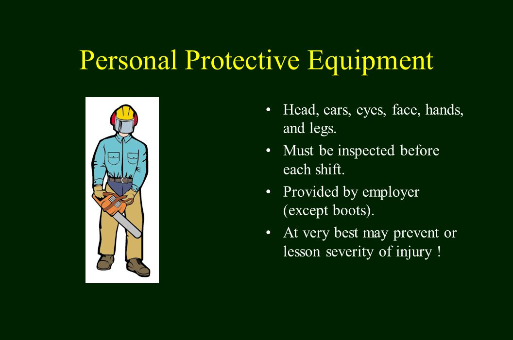 Personal Protective Equipment Head, ears, eyes, face, hands, and legs.