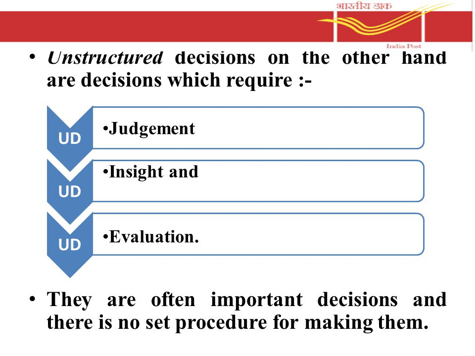 Unstructured decisions on the other hand are decisions which require :- They are often important decisions and there is no set procedure for making them.