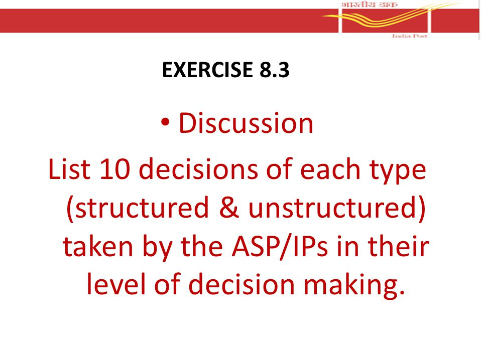 Discussion List 10 decisions of each type (structured & unstructured) taken by the ASP/IPs in their level of decision making.