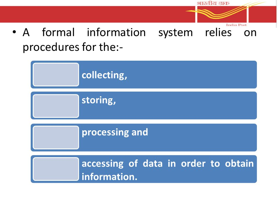 A formal information system relies on procedures for the:- collecting, storing, processing and accessing of data in order to obtain information.