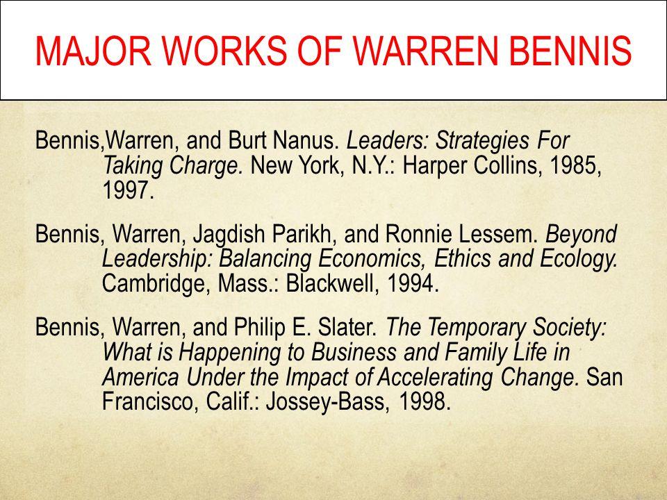 Bennis,Warren, and Burt Nanus. Leaders: Strategies For Taking Charge.