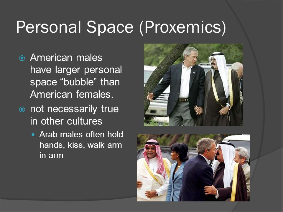 Personal Space (Proxemics)  American males have larger personal space bubble than American females.