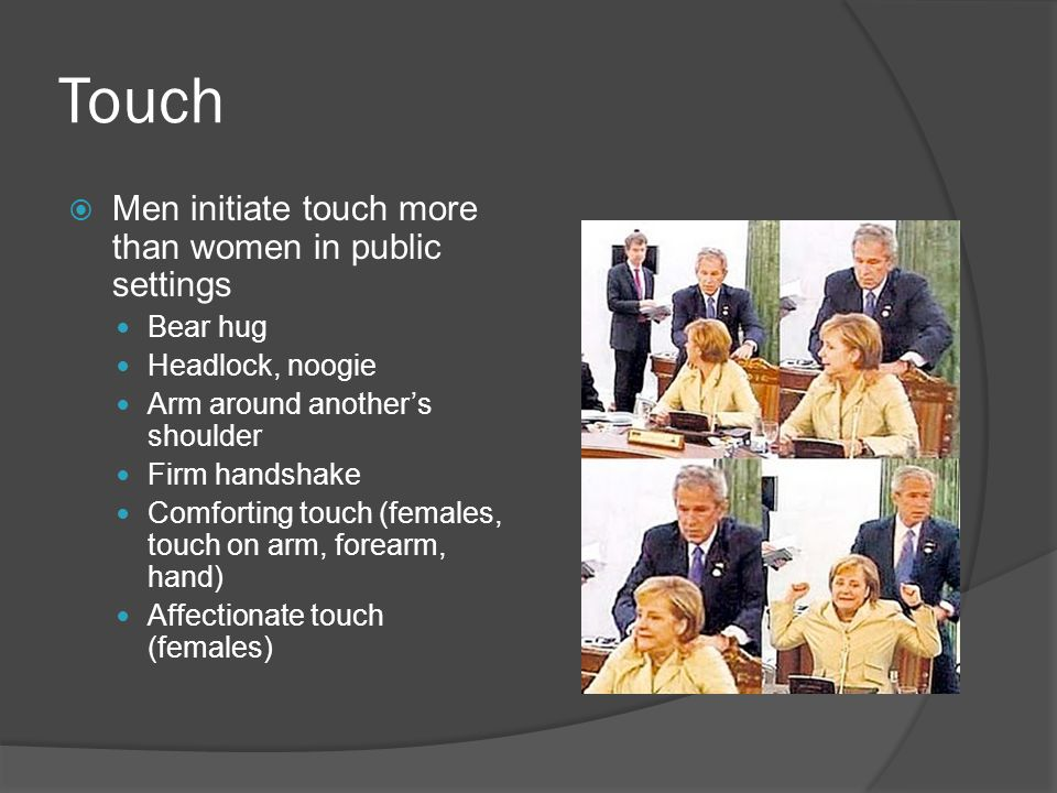 Touch  Men initiate touch more than women in public settings Bear hug Headlock, noogie Arm around another's shoulder Firm handshake Comforting touch (females, touch on arm, forearm, hand) Affectionate touch (females)
