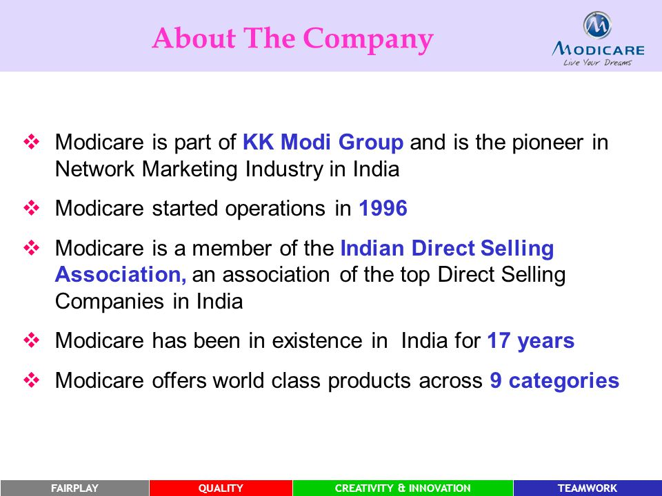 FAIRPLAYQUALITYCREATIVITY & INNOVATIONTEAMWORK About The Company  Modicare is part of KK Modi Group and is the pioneer in Network Marketing Industry