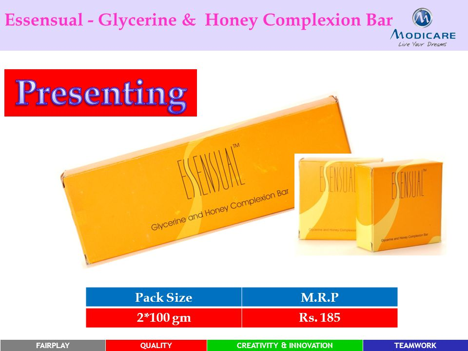 FAIRPLAYQUALITYCREATIVITY & INNOVATIONTEAMWORKFAIRPLAYQUALITYCREATIVITY & INNOVATIONTEAMWORK Essensual - Glycerine & Honey Complexion Bar Pack SizeM.R.P 2*100 gmRs.