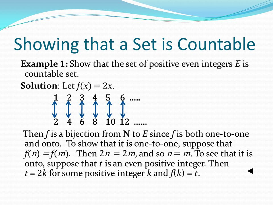 Showing that a Set is Countable Example 1 : Show that the set of positive even integers E is countable set. Solution: Let f ( x ) = 2 x. 1 2 3 4 5 6 …