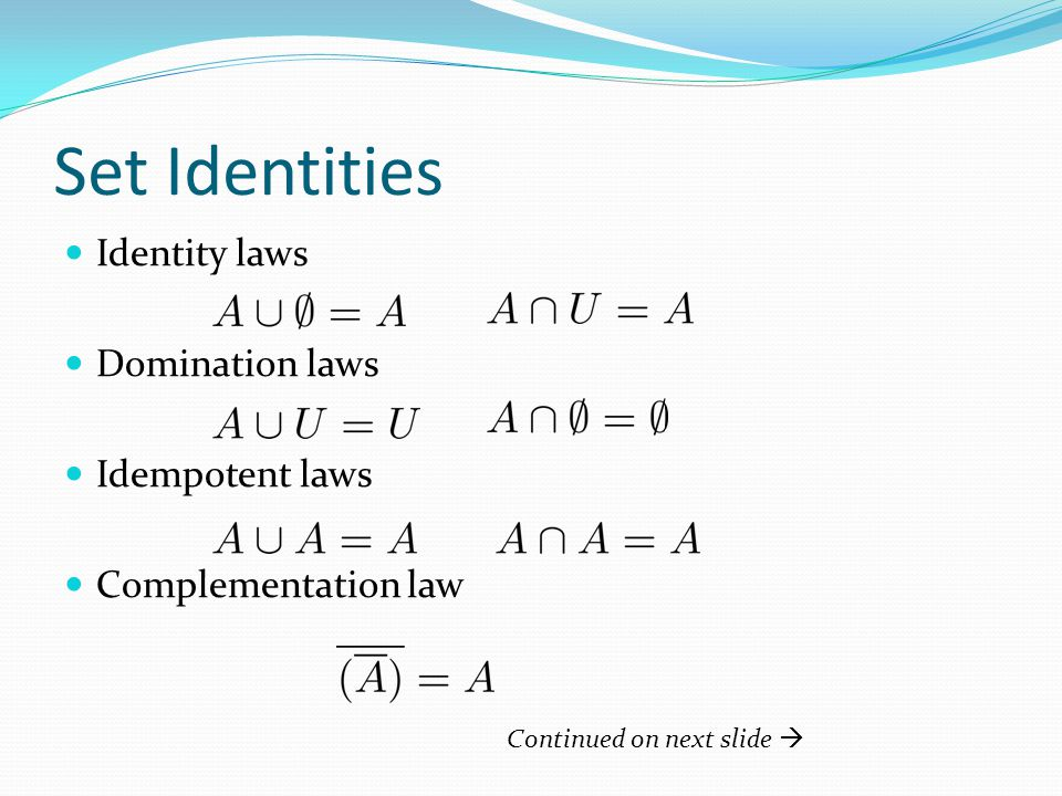 Set Identities Commutative laws Associative laws Distributive laws Continued on next slide 