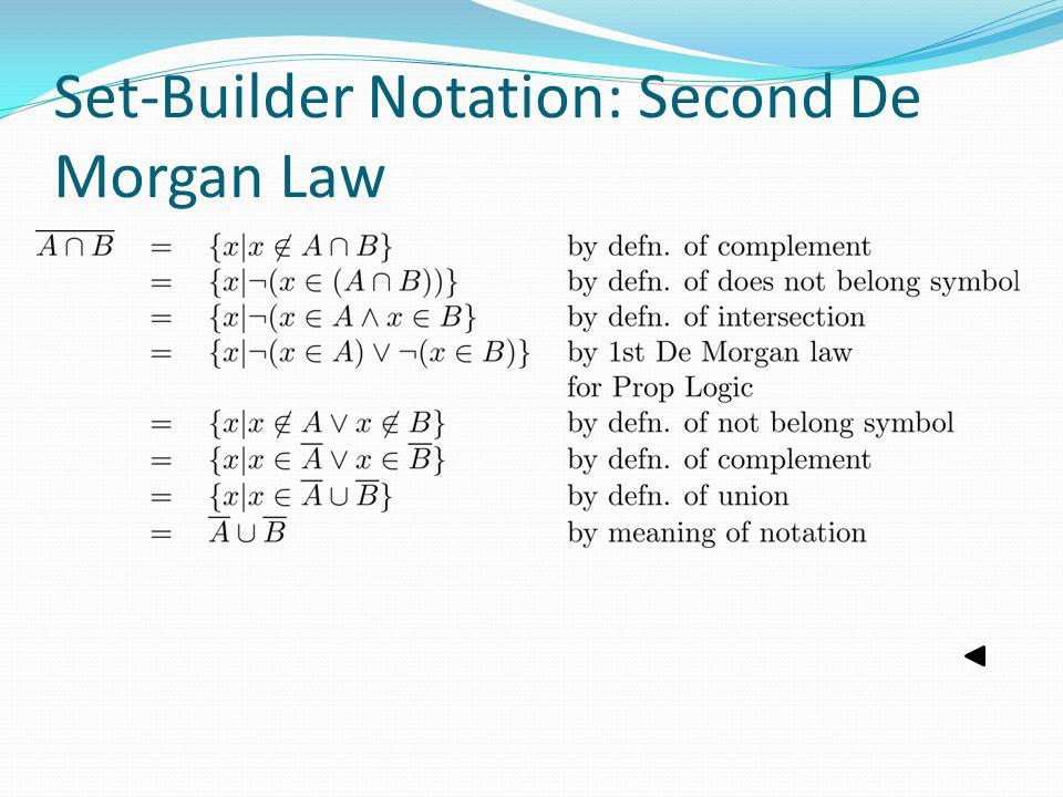 Set-Builder Notation: Second De Morgan Law