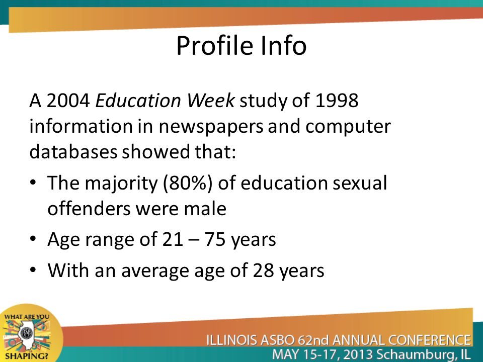 Profile Info A 2004 Education Week study of 1998 information in newspapers and computer databases showed that: The majority (80%) of education sexual offenders were male Age range of 21 – 75 years With an average age of 28 years