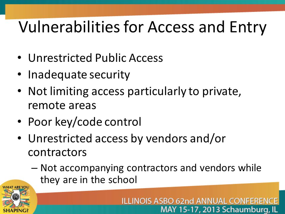 Vulnerabilities for Access and Entry Unrestricted Public Access Inadequate security Not limiting access particularly to private, remote areas Poor key/code control Unrestricted access by vendors and/or contractors – Not accompanying contractors and vendors while they are in the school