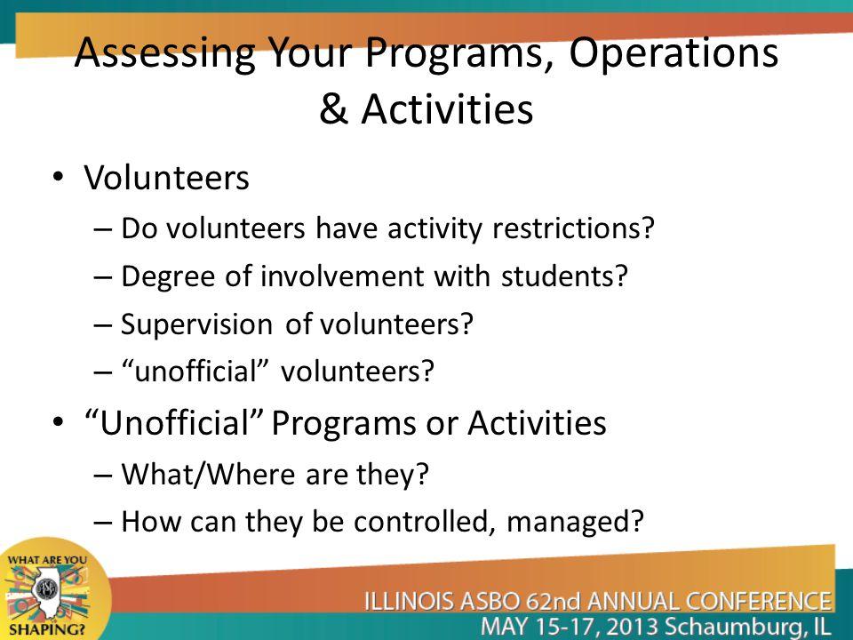 Assessing Your Programs, Operations & Activities Volunteers – Do volunteers have activity restrictions.