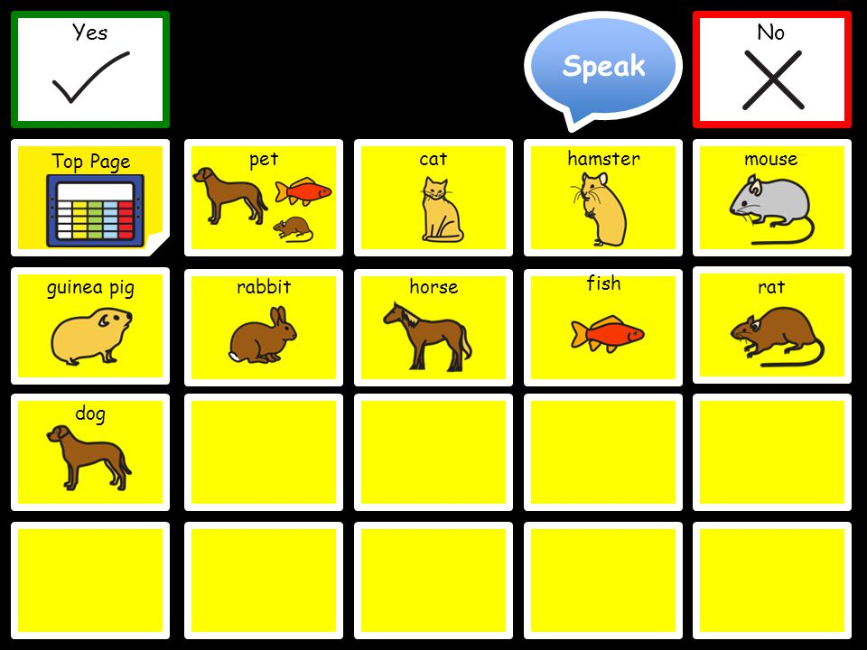 Speak Yes Top Page No Yes Top Page No petcathamster guinea pigrabbithorse fish Delete Word Clear mouse rat dog