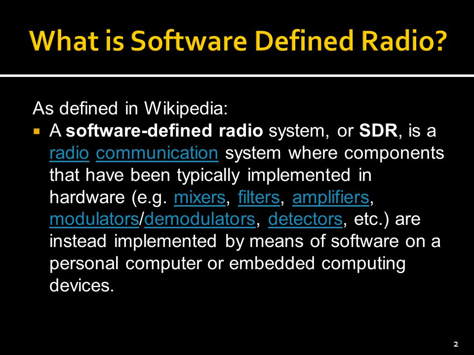 As defined in Wikipedia:  A software-defined radio system, or SDR, is a radio communication system where components that have been typically implemen