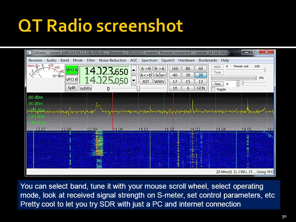 30 You can select band, tune it with your mouse scroll wheel, select operating mode, look at received signal strength on S-meter, set control parameters, etc Pretty cool to let you try SDR with just a PC and internet connection