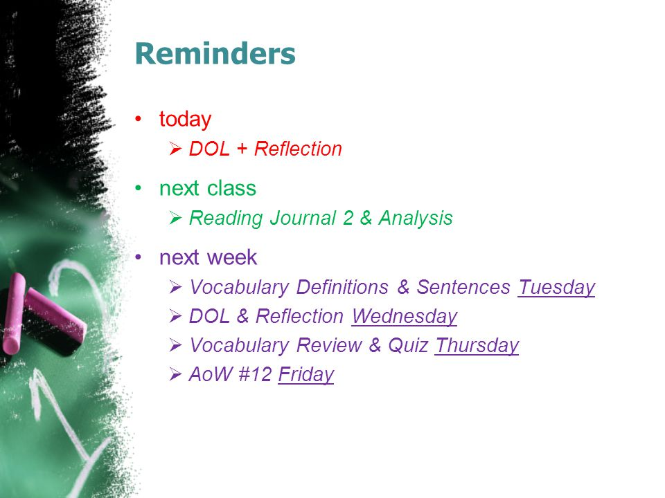 Reminders today  DOL + Reflection next class  Reading Journal 2 & Analysis next week  Vocabulary Definitions & Sentences Tuesday  DOL & Reflection