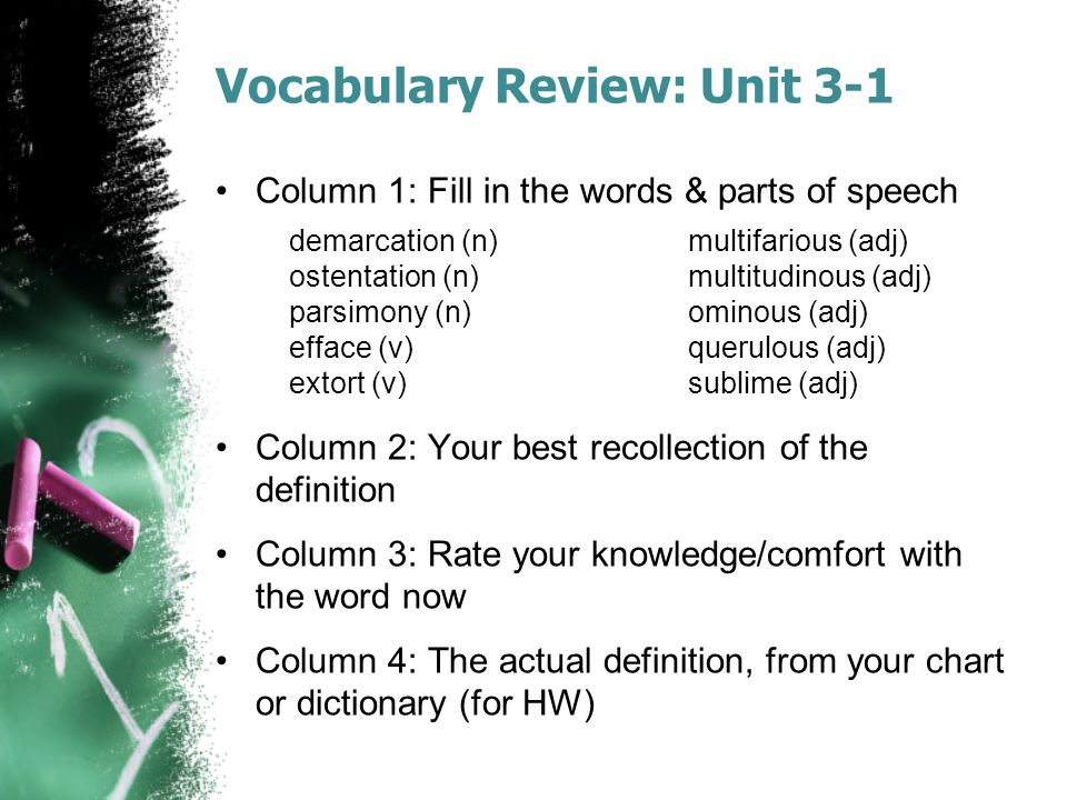 Vocabulary Review: Unit 3-1 Column 1: Fill in the words & parts of speech Column 2: Your best recollection of the definition Column 3: Rate your knowl