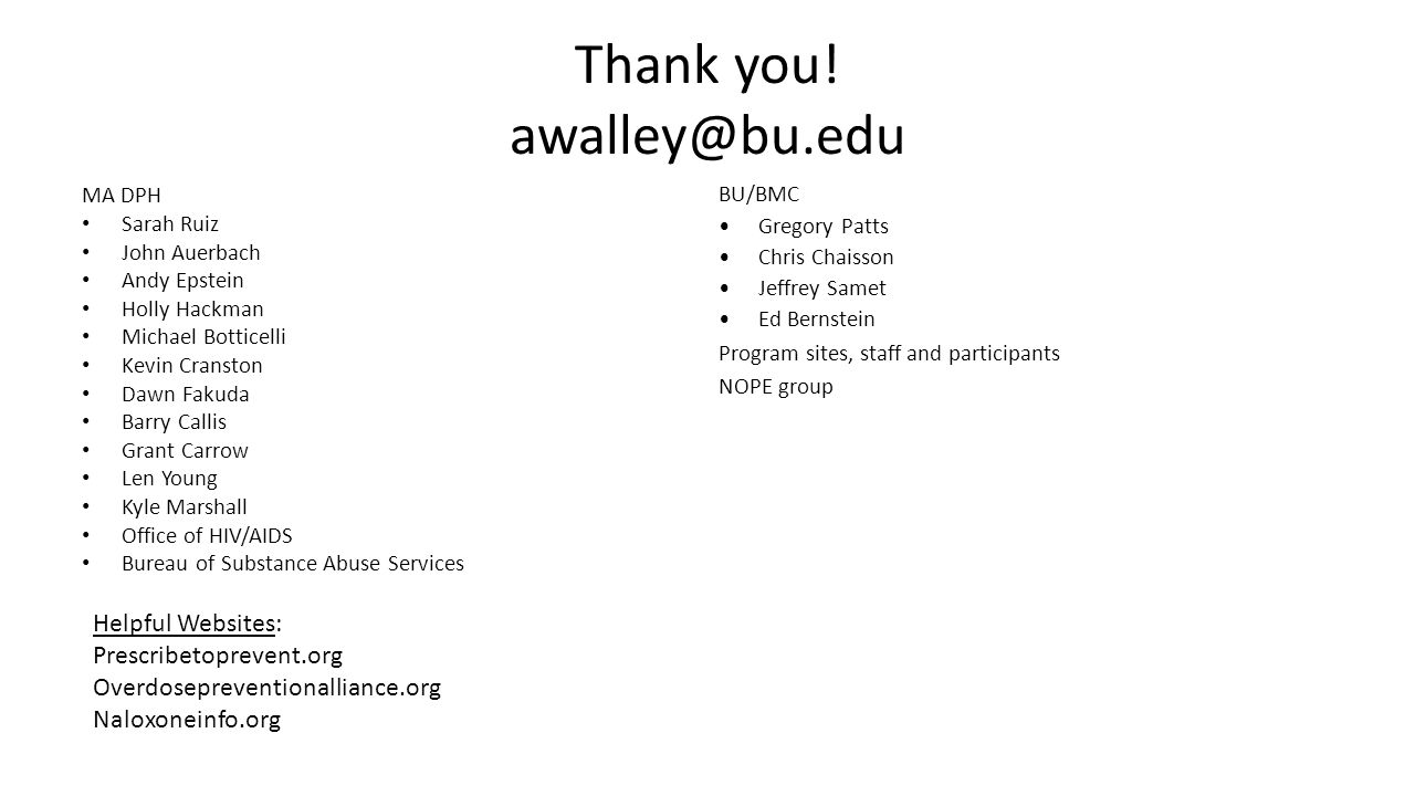 Thank you! awalley@bu.edu MA DPH Sarah Ruiz John Auerbach Andy Epstein Holly Hackman Michael Botticelli Kevin Cranston Dawn Fakuda Barry Callis Grant