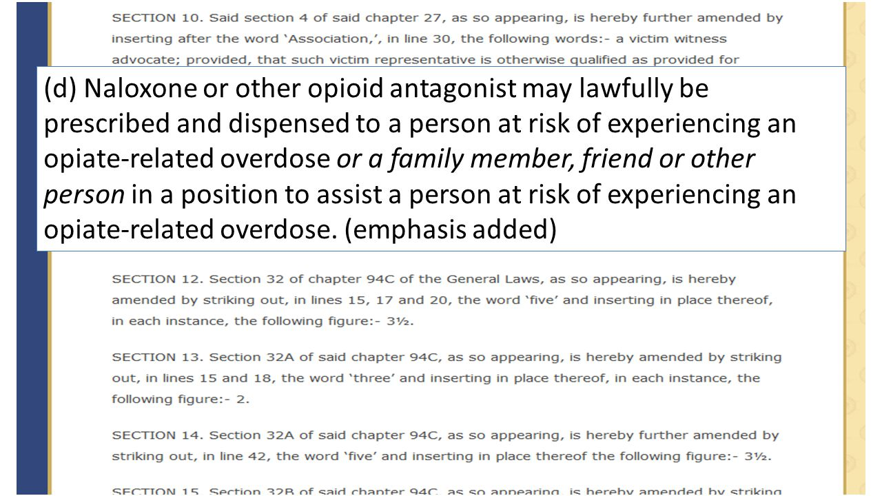 (d) Naloxone or other opioid antagonist may lawfully be prescribed and dispensed to a person at risk of experiencing an opiate-related overdose or a f
